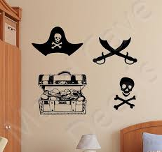 Pirate Items Wall Decal Treasure Chest Swords Skull Crossbones Wall Decals Boy And Girl Shared Room Pirate Room