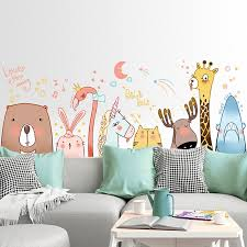 Waliicorners Animal World Cartoon Flamingo Giraffe Rabbit Wall Sticker Decoration Self Adhesive Dormitory Bedroom Creative Bedside Wall Decal Waliicorner S Store