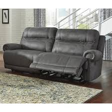 faux leather reclining sofa in gray