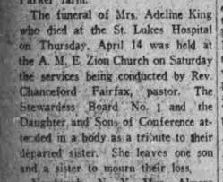 Mrs. Adeline King - death notice, New York Age 23 Apr 1927 ...