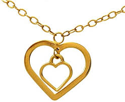 9ct gold solid double heart pendant