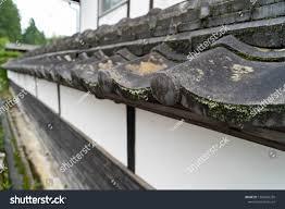 Roof Tiles Japanese Traditional Fence Beside Buildings Landmarks Stock Image 1208685235