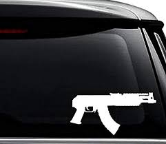 Amazon Com Mini Draco Ak47 Pistol Gun Decal Sticker For Use On Laptop Helmet Car Truck Motorcycle Windows Bumper Wall And Decor Size 12 Inch 30 Cm Wide Color Gloss White