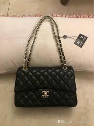 shoulder fashion black chain makeup bag
