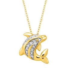 dolphin pendant necklace with diamond