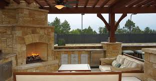 outdoor kitchen with fireplace apartments