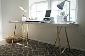 ikea white table top with gold
