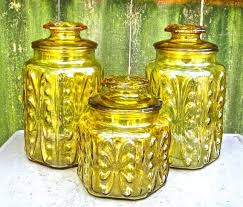 vintage glass canisters 1960s amber