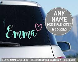 Cursive Name Sticker For Car Heart Decal For Car Calligraphy Etsy Heart Decals Glitter Decal Car Decals Vinyl