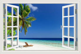 Greathomeart White Beach Palm Tree Wall Murals Blue 3d Beach Wall Stickers 1515298 Hd Wallpaper Backgrounds Download