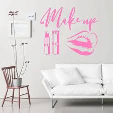 Vova Beauty Salon Wall Stickers Makeup Quote Wall Decals Make Up Wall Art Lips Decal Sticker Lipstick Brushes Girls Room Decor