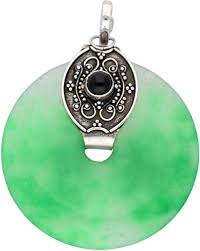 green agate disc donut with black onyx