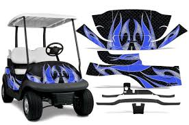 2008 2013 Club Car Precedent L2 Amrracing Atv Graphics Decal Kit Tribal Flames Blue Black Rosamond Comacho