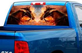Product Two Horses On Cloud Rear Window Wrap Graphic Decal Sticker Truck Suv Pick Up Car