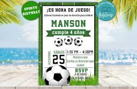 Invitacion De Cumpleanos De Futbol Imprimible Descarga Instantanea
