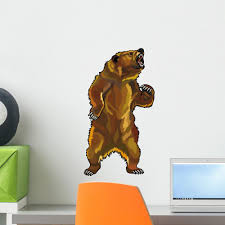 Angry Grizzly Bear Wall Decal Wallmonkeys Com
