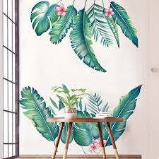 Green Tropical Banana Leaf Wall Stickers Pink Flower Decal Plant Home Decor Art Living Room Removable Vinyl Decals Bedroom Head Wall Murals Thefuns On Artfire