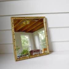 bamboo frame wall hanging mirror