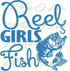 Amazon Com Reel Girls Fish Vinyl Decal With Bass Sticker Hot Pink Kitchen Dining