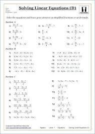 math worksheets linear equations