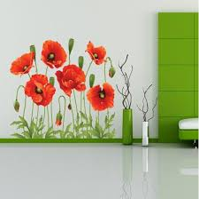 Red Poppy Removable Wall Decal Wallstickersco