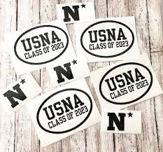 Any Class Year Decal College Name Oval Vinyl Decal Usna Car Etsy