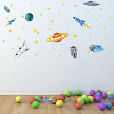 Spaceship And Stars Wall Decal Set Style And Apply