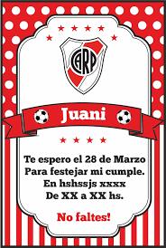 Invitacion Futbol Soccer River Plate Tarjetas De Cumpleanos