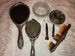 ornate hand held hair brush comb dish