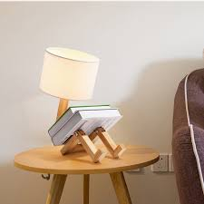 Modern Robot Wooden Table Lamp With Kids Bookshelf Adjustable Table Lights With Cloth Lampshades Childrens Bedsides Desk Lights Desk Lamps Aliexpress