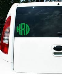 Monogram Decal For Car Up To 8 Inches 3 Initial Sticker Carolina Clover