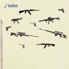 Gun 3d Wall Stickers Ak Diy Wall Art Decal Decoration Firearms Vinyl W Demiworld