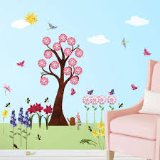 Flower Wall Decals For Girls Room Peel Stick Flower Stickers With Large Tree Decal Butterfly Decals Bird Decals