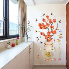 Shop Plum Flower Blossom Wall Stickers Pink Flores Birds Wall Decal For Living Room Home Decor Sticker Online From Best Wall Stickers Murals On Jd Com Global Site Joybuy Com