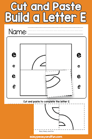 cut and paste a letter e worksheets