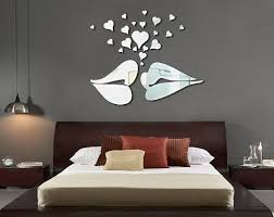 Amazon Com Apexshell Tm Silver Lip Love Kissing Big Heart Sharp Modern Stylish Simple Style Fashion Art Design Removable Diy Acrylic Mirror Wall Decal Wall Sticker For Kitchen Dining Room Home Decoration Home