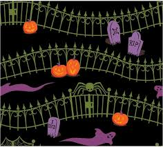 Amazon Com Fabric Haunted Halloween Cemetery Fence Graves On Black Cotton 1 4 Yard