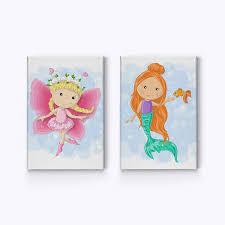 Amazon Com Smile Art Design Cute Fairy And Mermaid Decor 2 Panel Canvas Print Set Kids Room Decor Wall Art Baby Room Decor Nursery Decor Ready To Hang Made In The Usa 12x8 X2