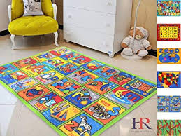 Amazon Com Handcraft Rugs Kids Carpet Play Mat Rug City Life Great For Playing With Cars And Toys Kids Rug Carpet Educational Play Time Green And Multi Color Anti Slip Abc Practice Approximately 3x5 Feet Furniture