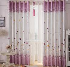 Eco Friendly Purple And White Linen Cotton Kids Bedroom Curtains