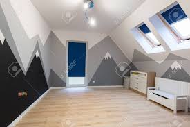 Kids Bedroom With Painted Mountains On The Wall Stock Photo Picture And Royalty Free Image Image 113890729