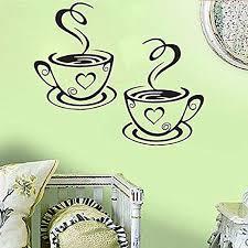 Amazon Com Coffee Cups Cafe Tea Art Vinyl Decal Kitchen Restaurant Pub Decor Mural Art I Love Coffee Black Cups Home Kitchen