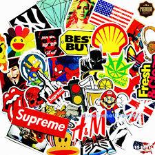 Skateboard Music Graphics Hip Hop 12pc Black Supreme Vinyl Decal Sticker Lot Stickers Decals