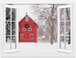 Amazon Com Creative Window Wall Sticker Wall Mural Red Barn In The Snow Rural Winter Scene Rural Scenery Stock Self Adhesive Removable Wall Decal Posters Home Wall Art Decor For Living Room 36x48