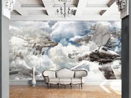 3d Sky War Wallpaper Wall Murals Self Adhesive Removable Wallpaper Ajwallpaper On Artfire