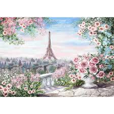 Allenjoy خلفية صور برج ايفل الزهور الوردية اللوحة خلفية جميلة
