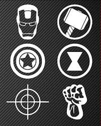Avengers 6 Pack Iron Man Thor Captain America Hawkeye Black Widow Hulk Car Decal Avengers Decals Avengers Shirt Avengers