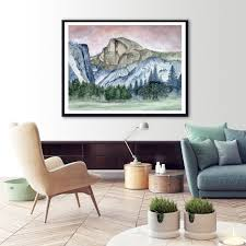Half Dome At Yosemite National Park Watercolor Art Print Tiny Toes Design