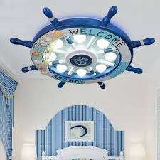 Blue Ship Wheel Ceiling Light Nautical Plastic 8 Lights Flush Mount Light For Kids Room Takeluckhome Com