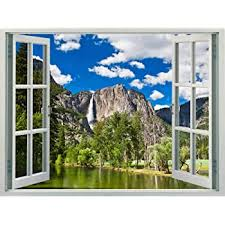 Amazon Com Walls 360 Peel Stick Faux Window Wall Decal Yosemite National Park With Waterfall 12 In X 9 In Arts Crafts Sewing